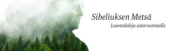 Sibeliuksen metsän tunnus, jossa Sibeliuksen kasvot