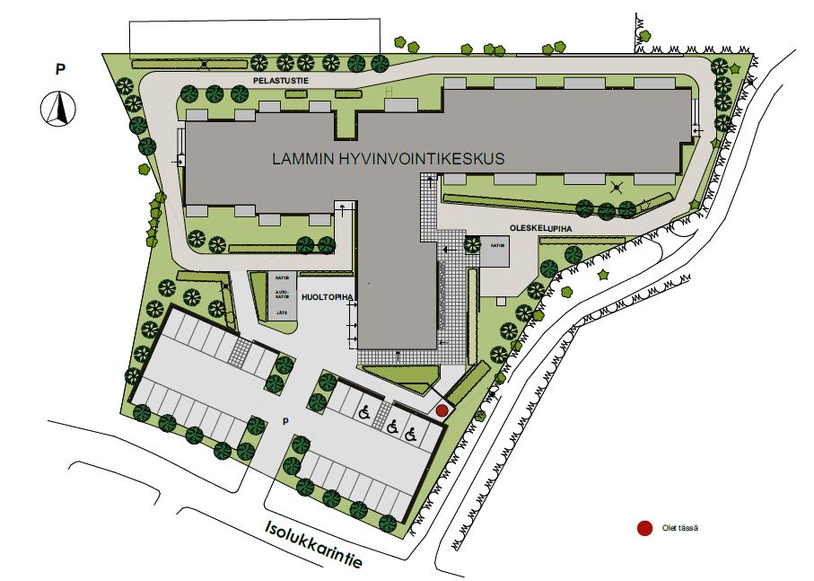 Lammin hyvinvointikeskus havainnekuva tontista, rakennuksen sijainti, parkkipaikat, piha-alueet