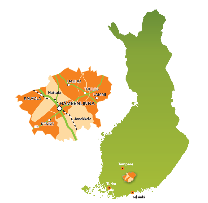 Hameenlinna on the map