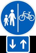 Kuva 1. kaksisuuntaisen pyörätien merkitseminen lisäkilvellä