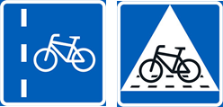 liikennemerkit pyöräkaista ja pyöräilijän ylityspaikka