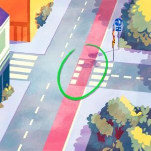 pyörätien jatke on merkitty kuvituskuvaan vihreällä ympyrällä