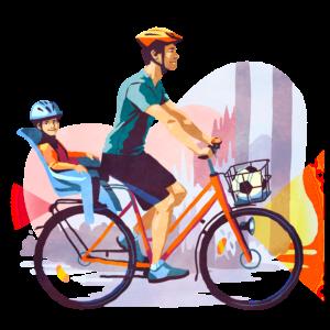 kuvan pyöräilijällä on kaikki tarvittavat varusteet