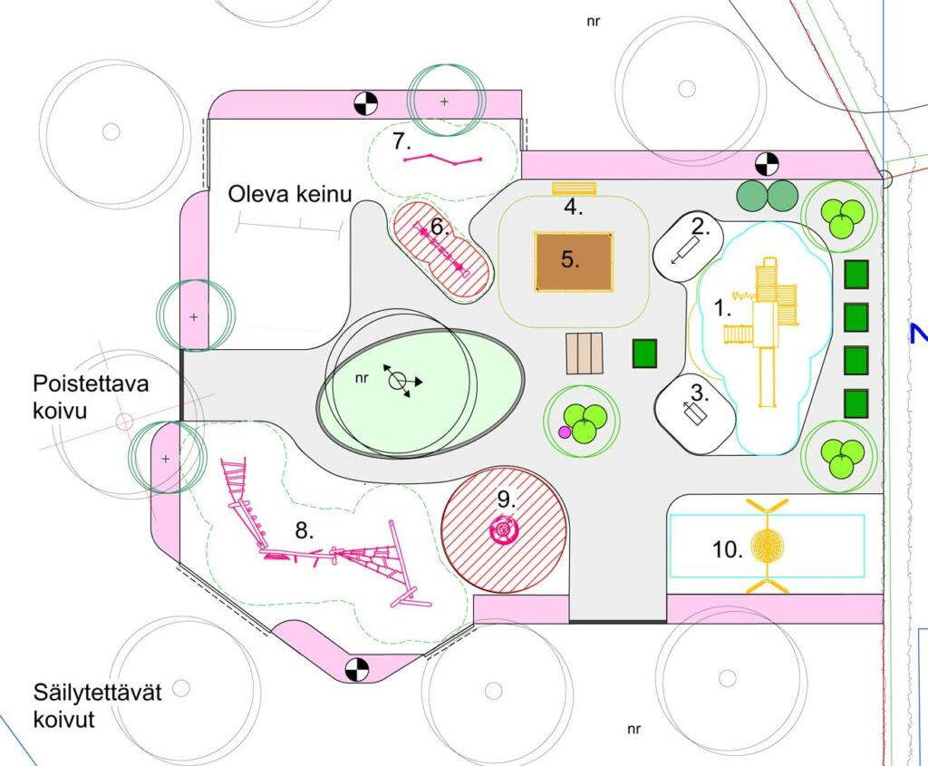Havainnekuva Rengon Riitamäen leikkipaikan uusista laitteista kartalla