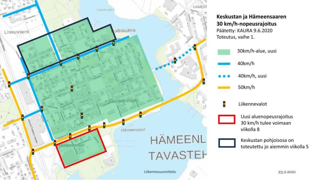 Kartalle on merkitty vihreällä muutettavat alueet ja ympyröity sinisellä jo muutettu alue.