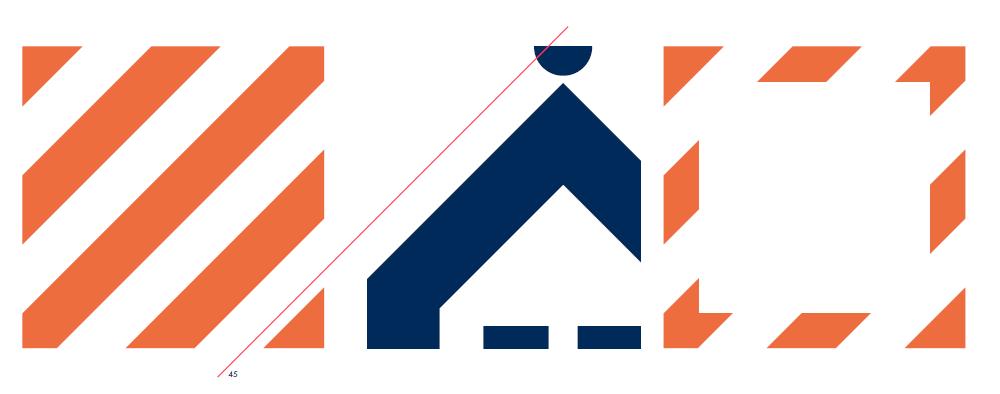 Hämeenlinnan tunnistemuotona käytetään 45 asteen kulmassa olevaa oranssia raitaa