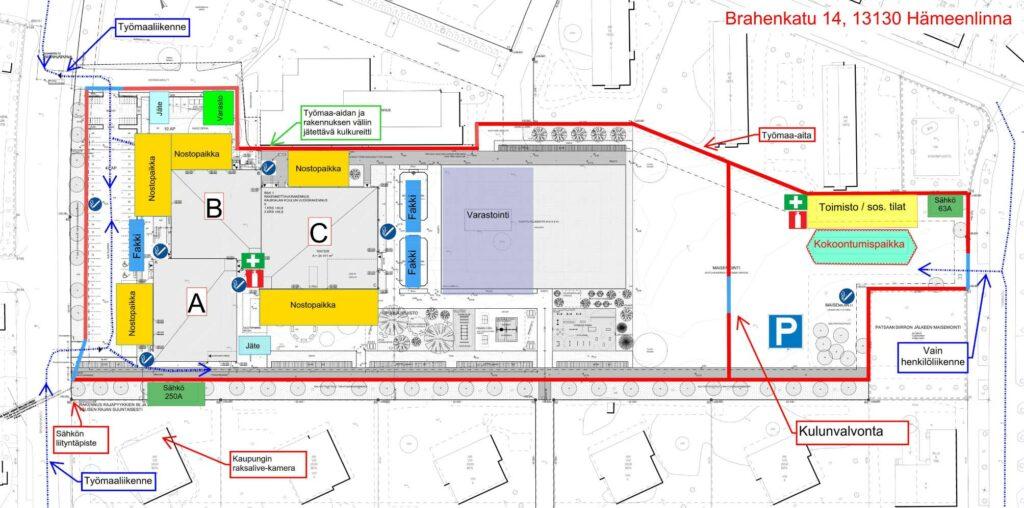 kaurialan koulun työmaa-alueen suunnitelma kartalla