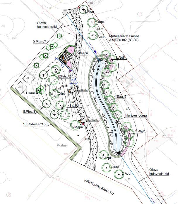 Keinupuiston havainnekuva, suunnitelmat kartalla.
