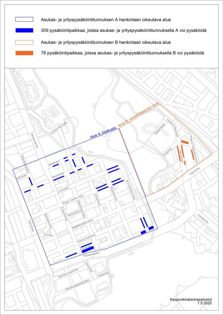 Asukas- ja yritystunnuspysäköintialueet kartalla