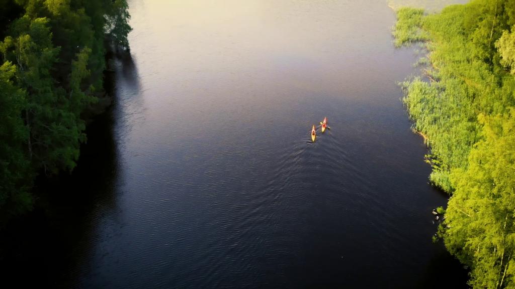 Melojat järvellä lintuperspektiivissä