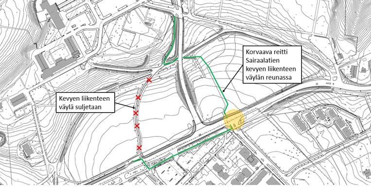 Sairaalan alueen väliaikainen kevyen liikenteen reitti kartalla