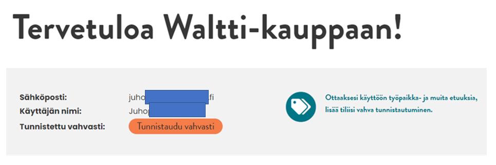 Vahvatunnistautuminen Waltti-kaupan etusivulla